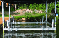 Pontoon cradle pad bunk with guide-in system.