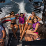 Family and friends having fun on board the Varatti boat.