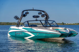 Teal and white FLOE Varatti wakeboard boat